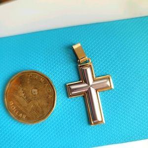 10k two tone gold cross pendant